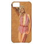 Vintage beach pin up girl case for iPhone 5C