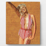 Vintage beach pin up girl plaques