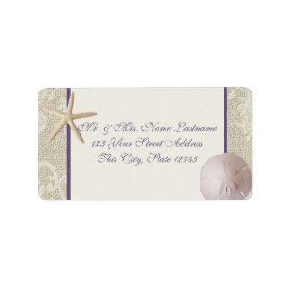 Vintage Beach Purple Address Label