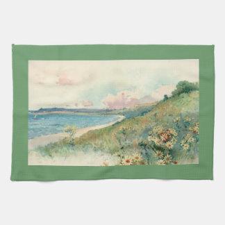 Vintage Beach Sage Green Kitchen Towel
