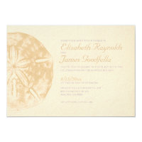 Vintage Beach Sand Dollar Wedding Invitations