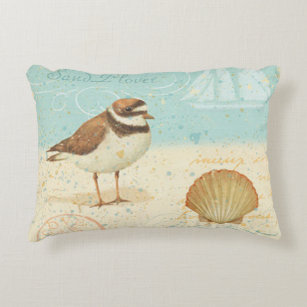 Vintage Beach Scene Accent Pillow