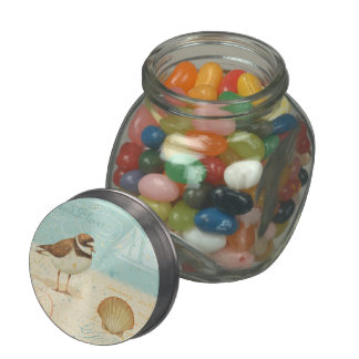 Vintage Beach Scene Glass Candy Jars
