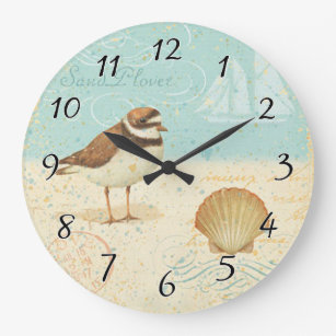 Vintage Beach Scene Large Clock