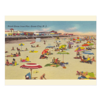 Vintage Beach Scene Ocean City NJ Postcard