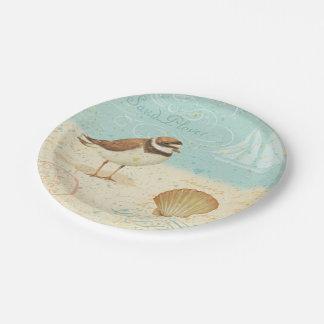 Vintage Beach Scene Paper Plate