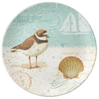 Vintage Beach Scene Porcelain Plate