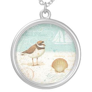 Vintage Beach Scene Round Pendant Necklace