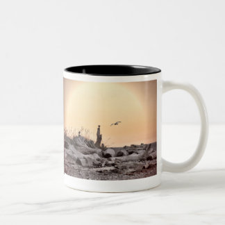 Vintage Beach Scene Two-Tone Coffee Mug