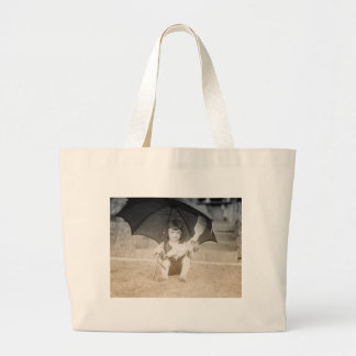 Vintage Beach Scene with Little Girl Canvas Bags