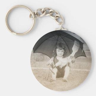 Vintage Beach Scene with Little Girl Keychain
