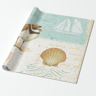 Vintage Beach Scene Wrapping Paper