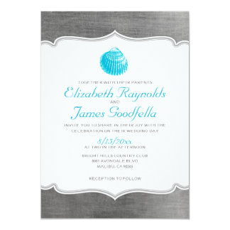 Vintage Beach Seashells Destination Wedding Invite
