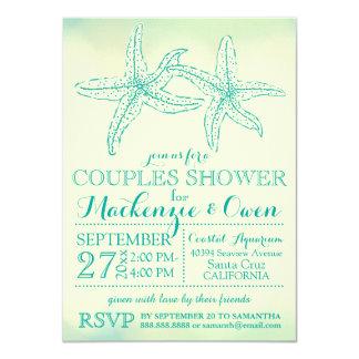 Vintage Beach Starfish Couples Wedding Shower Card