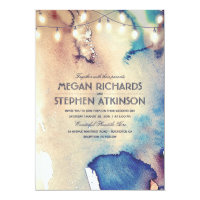 Vintage Beach String Lights Watercolor Wedding Card