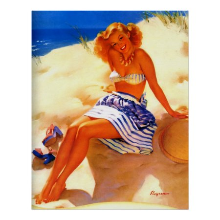 Pin Up Girl Poster//Art Print// By the Beach//Bathing Suit Pin Up Girl13x19