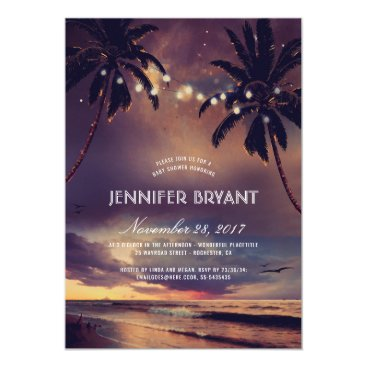 Beach Themed Vintage Beach Sunset Palm Lights Baby Shower Card