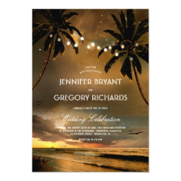 Beach Themed Vintage Beach Sunset | String Lights Palms Wedding Card