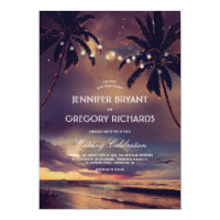 Vintage Beach Sunset | String Lights Palms Wedding Invitation