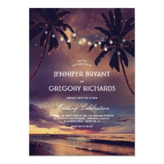 Vintage Beach Sunset | String Lights Palms Wedding Invitation