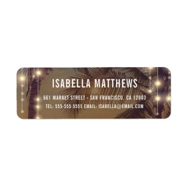 Vintage Beach Sunset String Lights Wedding Address Label