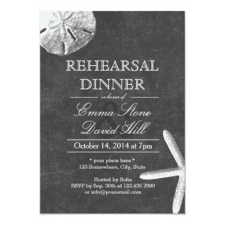 Vintage Beach Theme Chalkboard Rehearsal Dinner 5x7 Paper Invitation Card