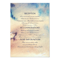 Vintage Beach Watercolors Wedding Information Card