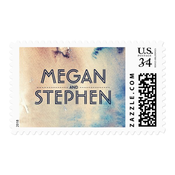 Vintage Beach Watercolors Wedding Postage