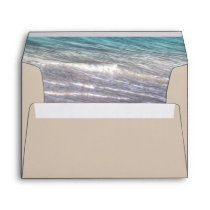 Vintage Beach Waves and Sand Wedding Envelopes