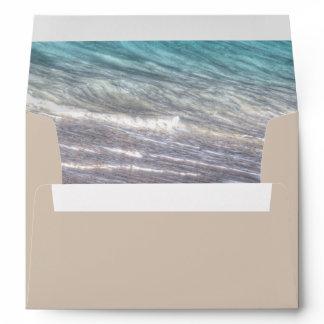 Vintage Beach Waves and Sand Wedding Envelopes
