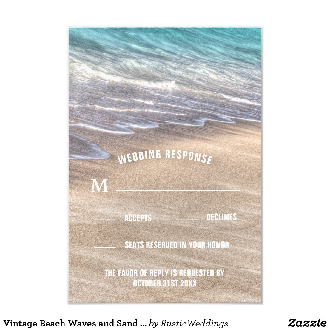 Vintage Beach Waves and Sand Wedding RSVP Cards