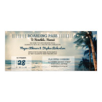 Vintage Beach Wedding Boarding Pass Ticket Wedding Invitation