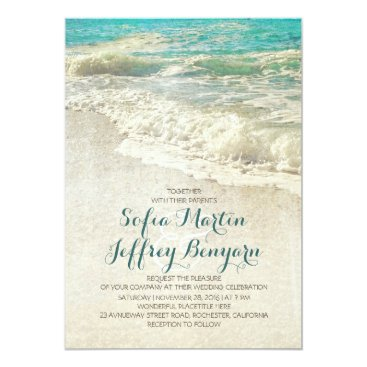 Beach Themed Vintage beach wedding invitations