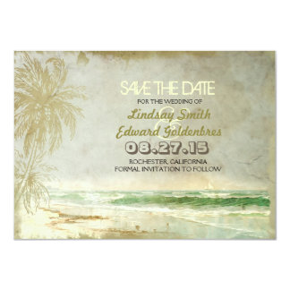 vintage beach wedding save the date card