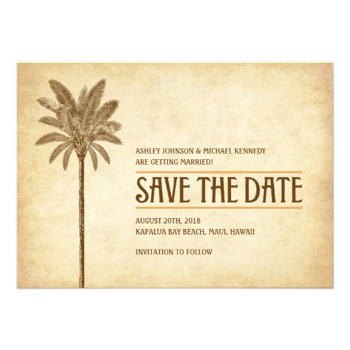 Vintage Beach Wedding Save The Date Invite