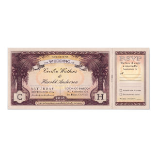 Vintage Beach Wedding Tickets with RSVP Cards