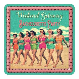 Vintage Beach Weekend Getaway Bachelorette Party Card