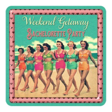 GroovyGraphics Vintage Beach Weekend Getaway Bachelorette Party Card