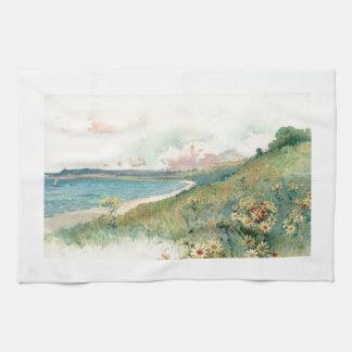Vintage Beach White Kitchen Towel