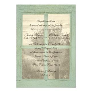 Vintage Beach Window Pane Wedding Card