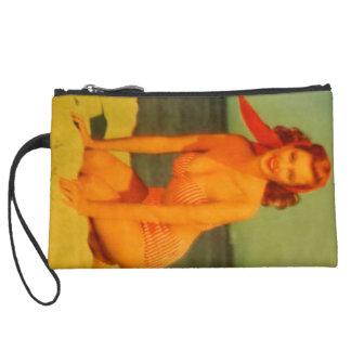 Vintage Beachgoer Suede Wristlet Wallet
