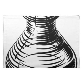 Vintage beaker or flask icon place mat