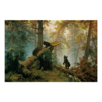 Vintage Bear Family in the Forest Poster