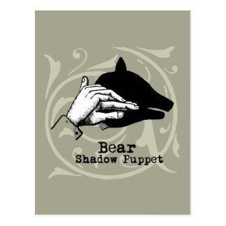 Vintage Bear Hand Puppet Shadow Games Postcards