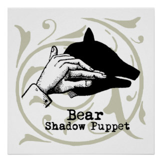 Vintage Bear Hand Puppet Shadow Games Poster