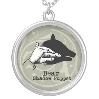 Vintage Bear Hand Puppet Shadow Games Silver Plated Necklace