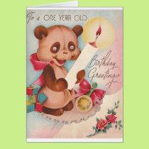 Vintage Bear One Year Old Birthday Card