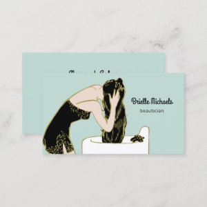 Vintage Beautician Retro Woman Shampoo Long Hair Business Card
