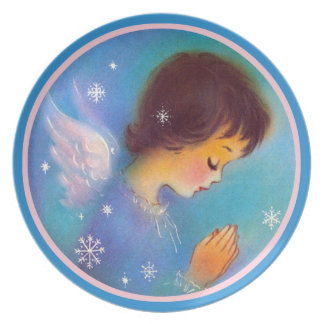 Vintage Beautiful Christmas Praying Angel blue Plate