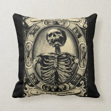 Vintage Beautiful Death Throw Pillow